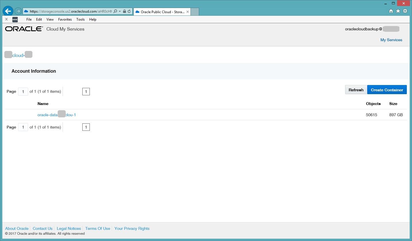 Oracle Cloud Web Console Details